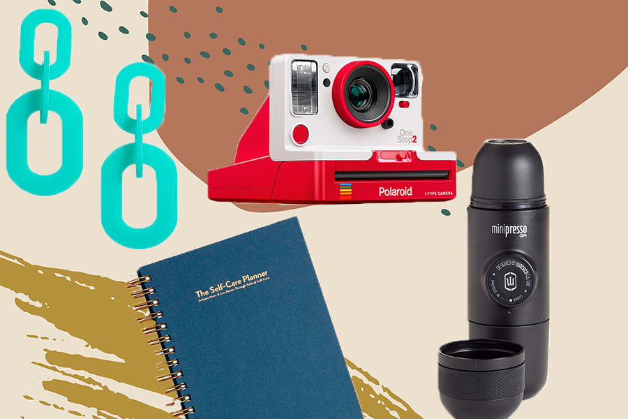 collage of items from nordstrom pop-up shop, including polaroid camera and journal