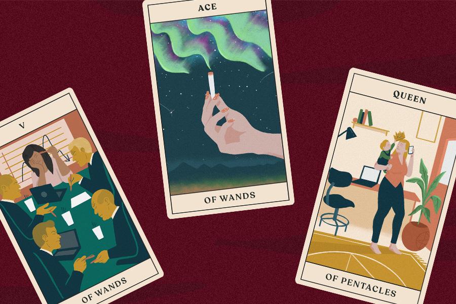 three tarot cards for a tarotscopes reading