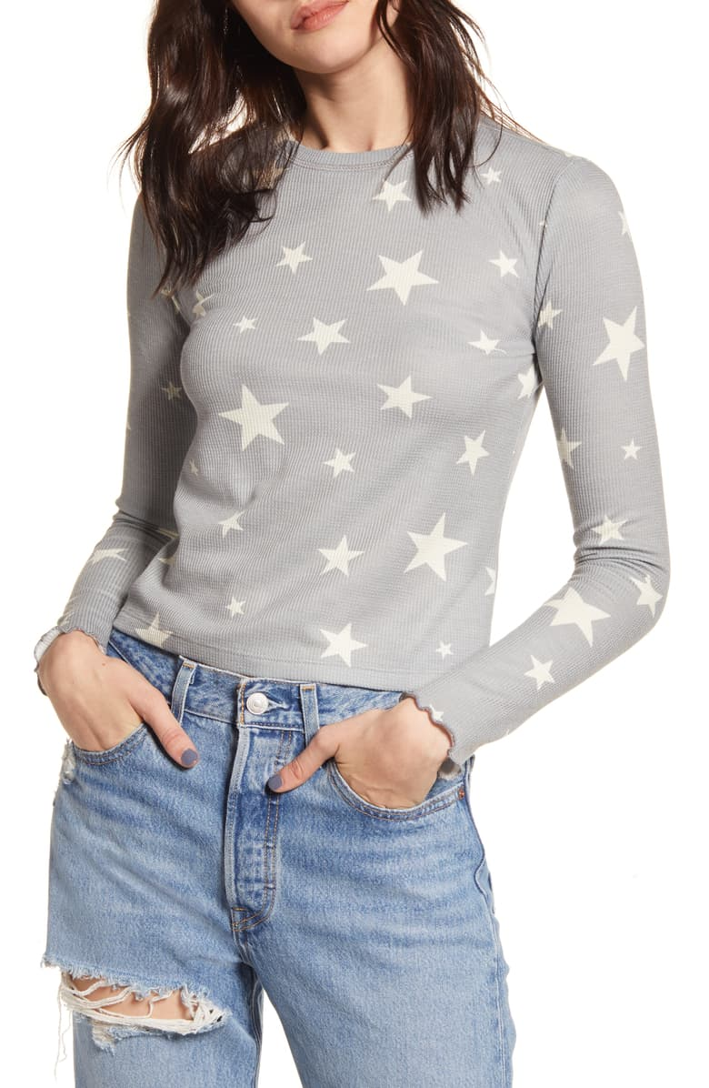 gray thermal top with stars, nordstrom holiday