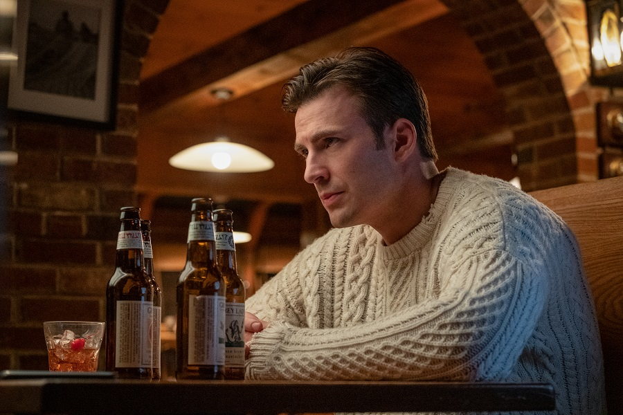 chris evans in his knives out sweater