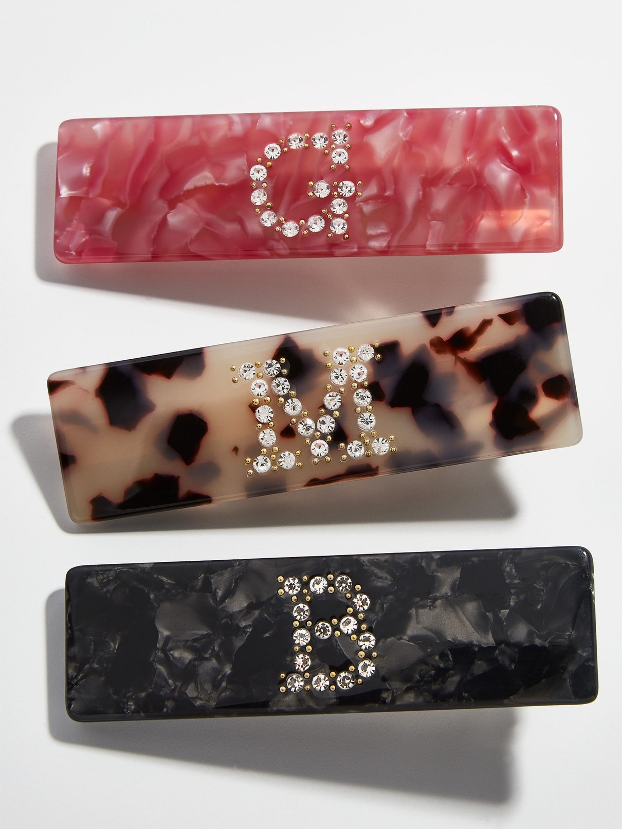 bauble bar resin hairclips personalized