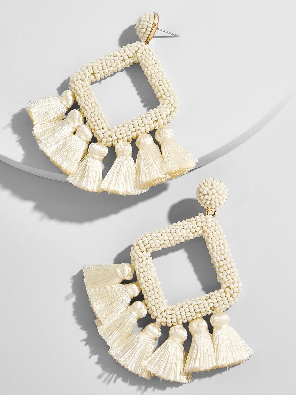 white fringe hoop earring bauble bar