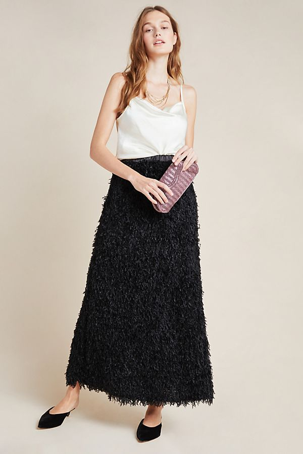 anthropologie feathered midi skirt black