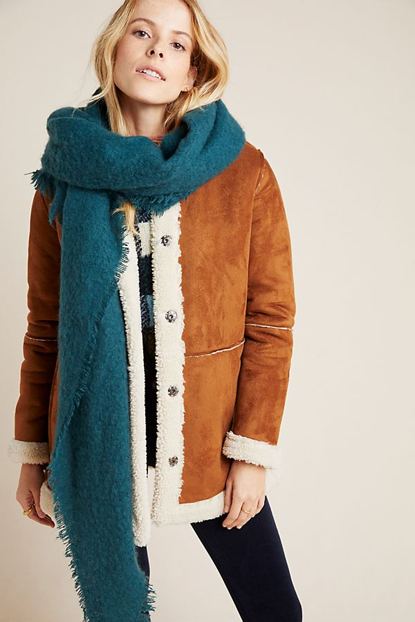 anthropologie teal scarf wrap