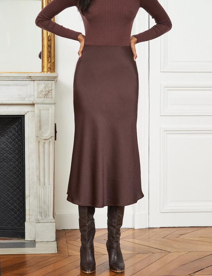 pixie-chocolate-satin-skirt