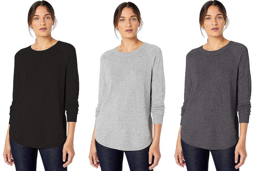 Lark & Ro Women's Crew Neck Shirttail Hem SweaterCredit: Amazon