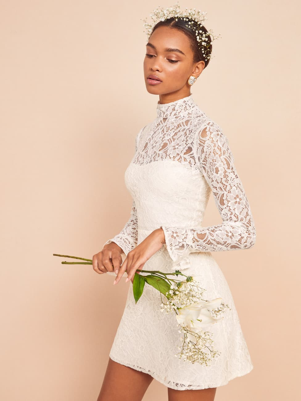 reformation wedding collection white lace carroway dress