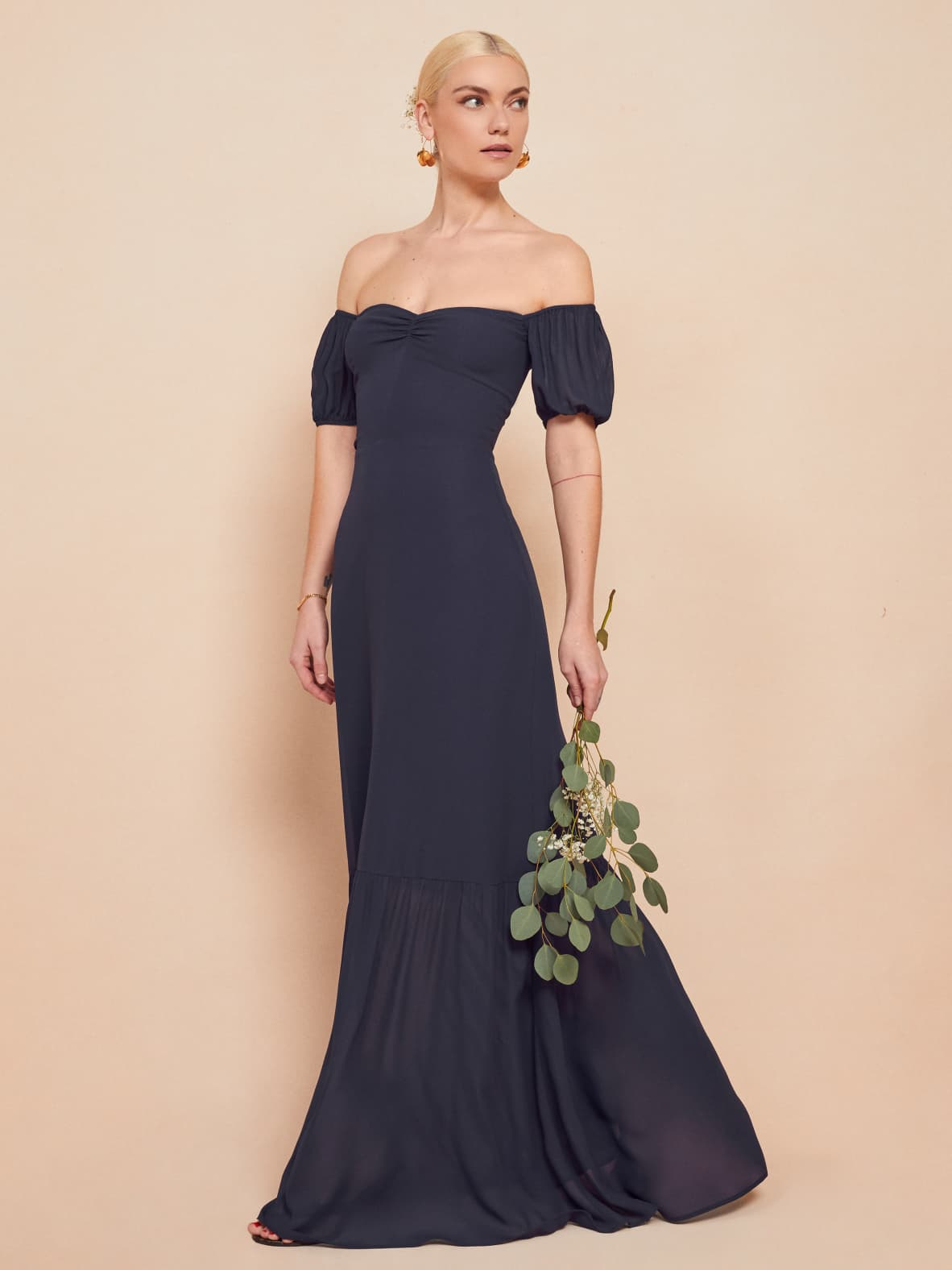 reformation navy long farrow dress