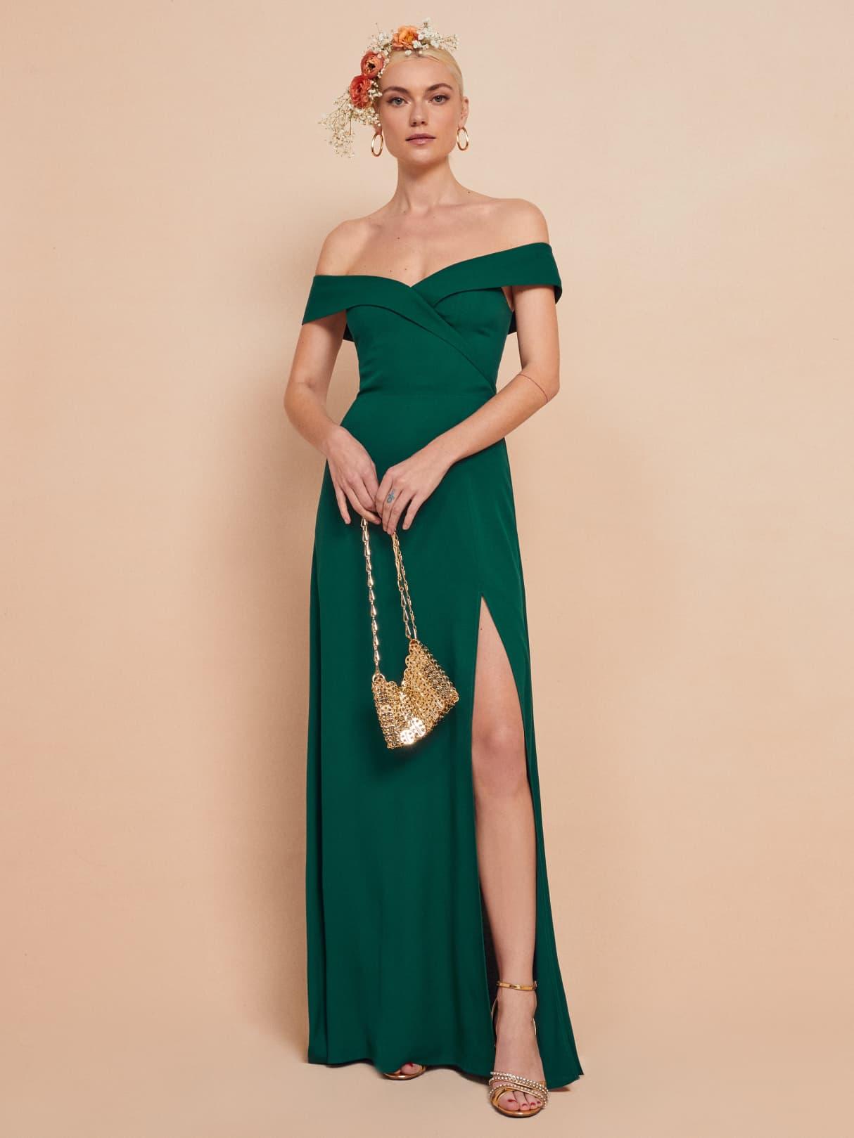 reformation redford dress emerald wedding collection