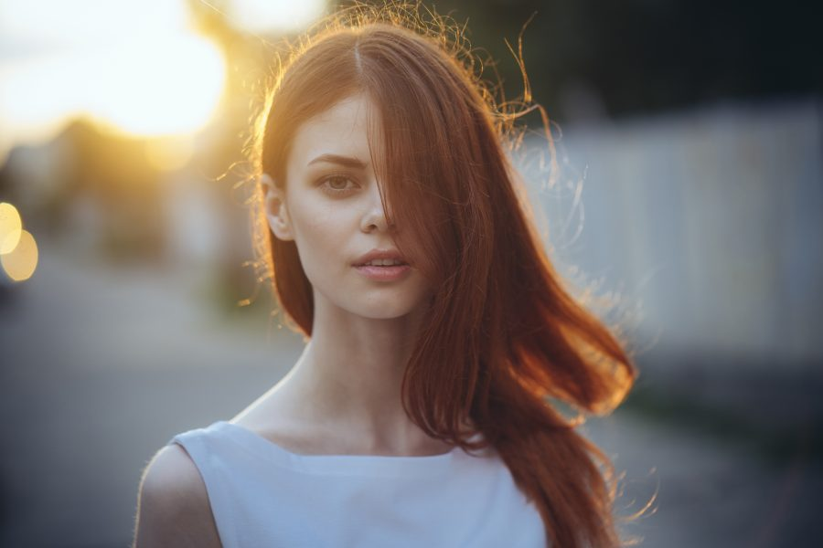woman with a blowout