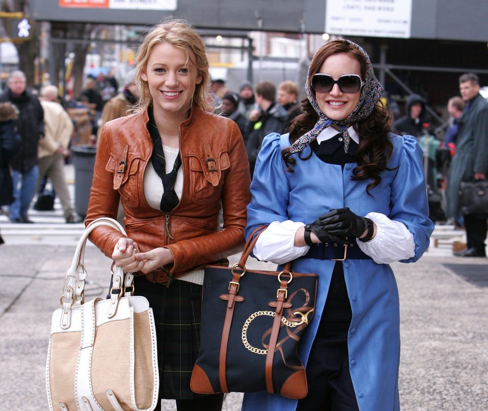 "Blake Lively and Leighton Meester on the ""Gossip Girl"" set"