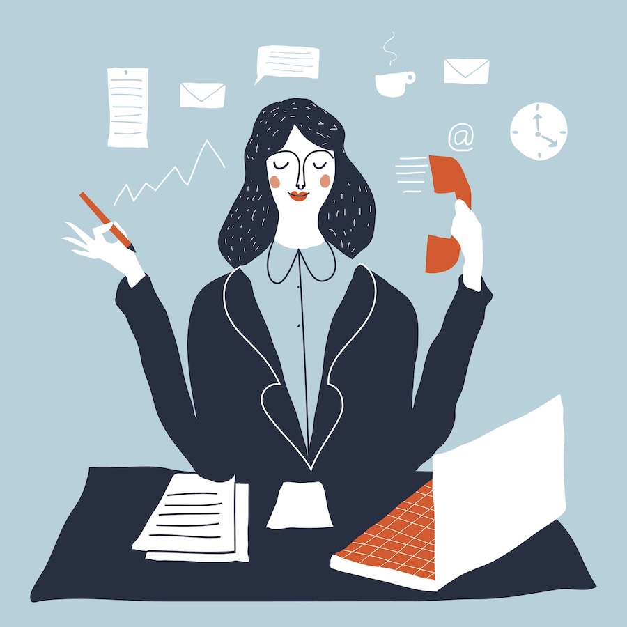 Illustration of a busy woman at a desk in an office