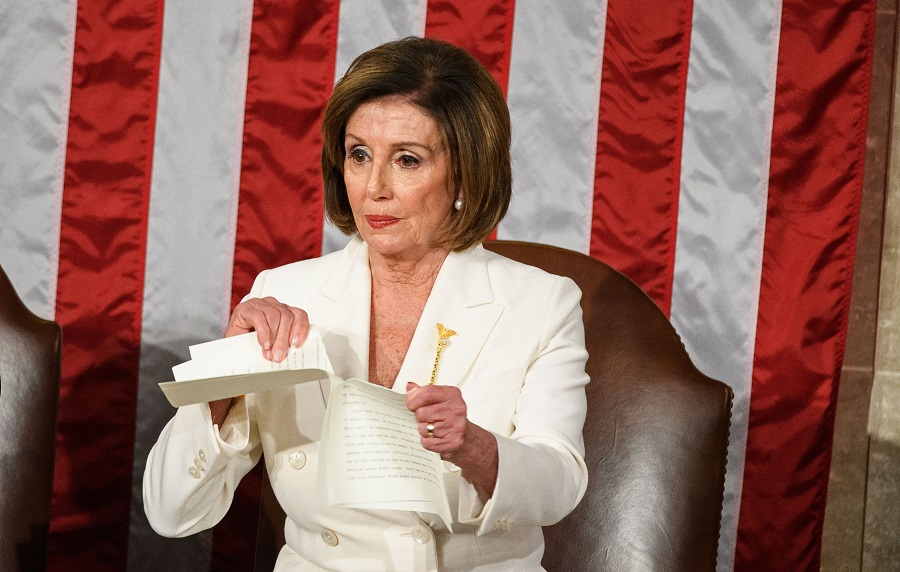 nancy pelosi state of the union address ripping up paper
