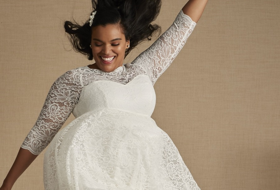 torrid wedding dress in white lace with long sleeves,