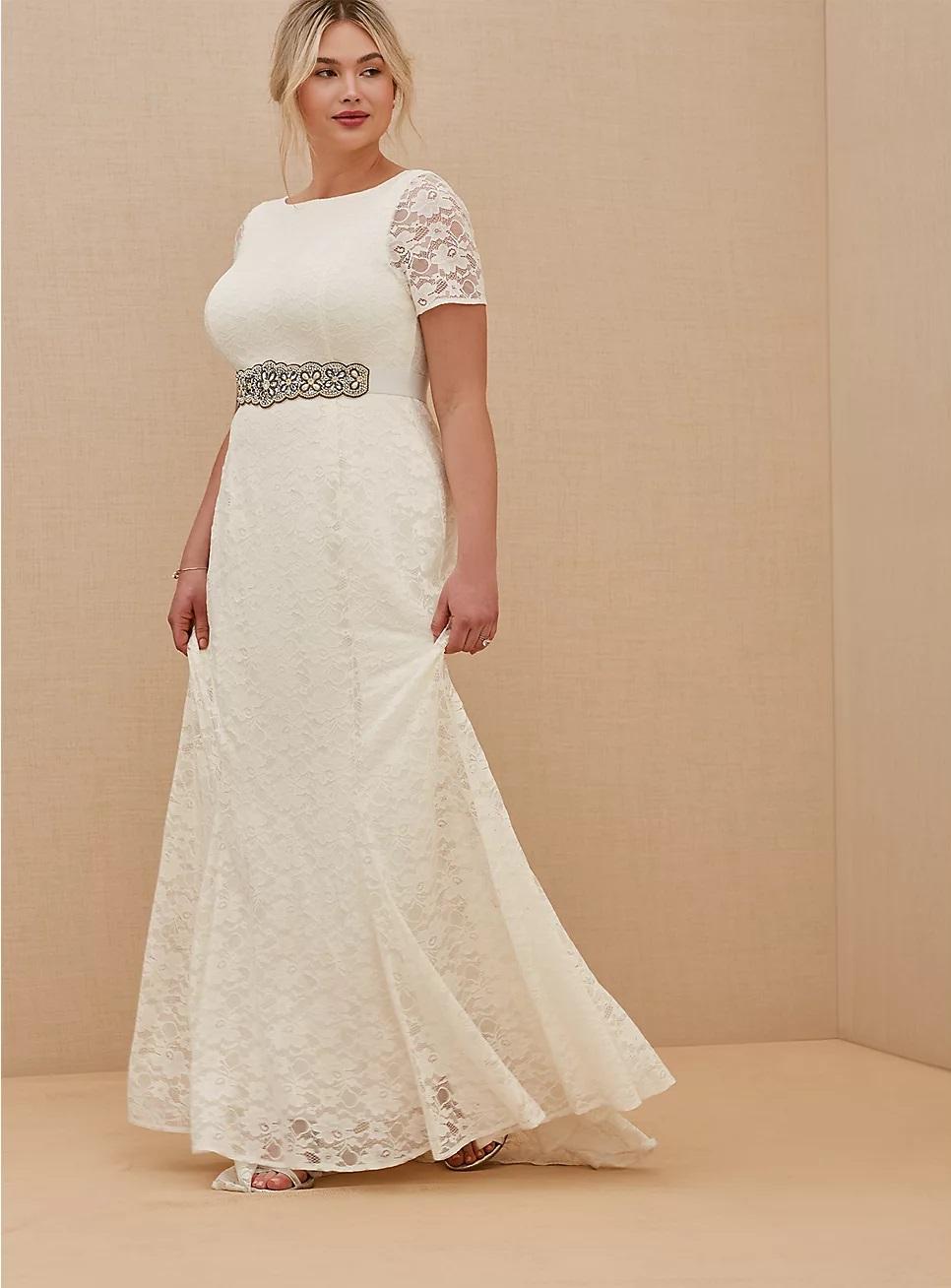 torrid wedding dress plus size in white lace, short sleeve