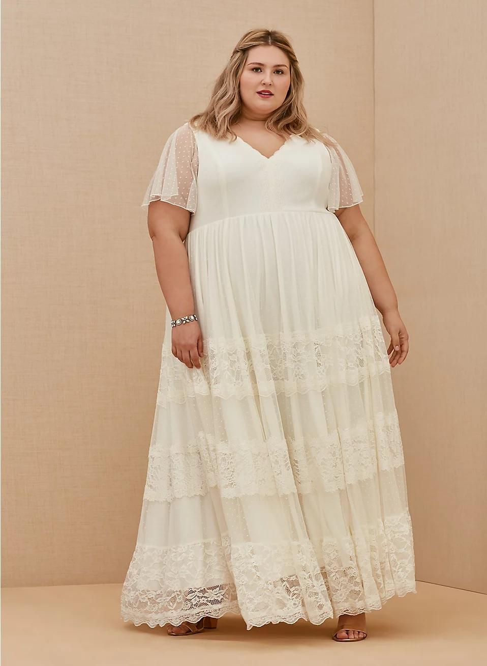 torrid wedding dress, boho style with lace