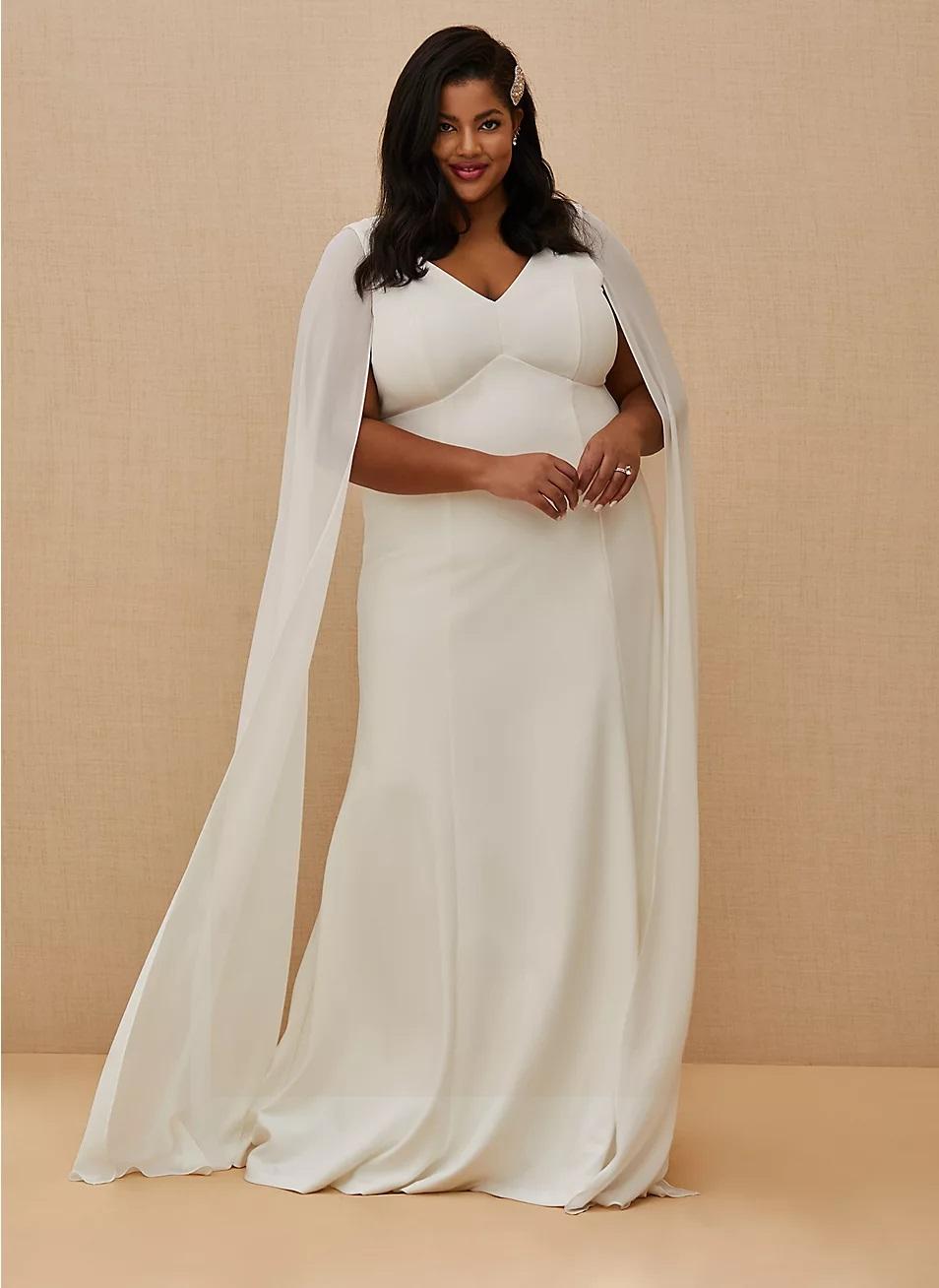 torrid wedding dress with white cape sleeves