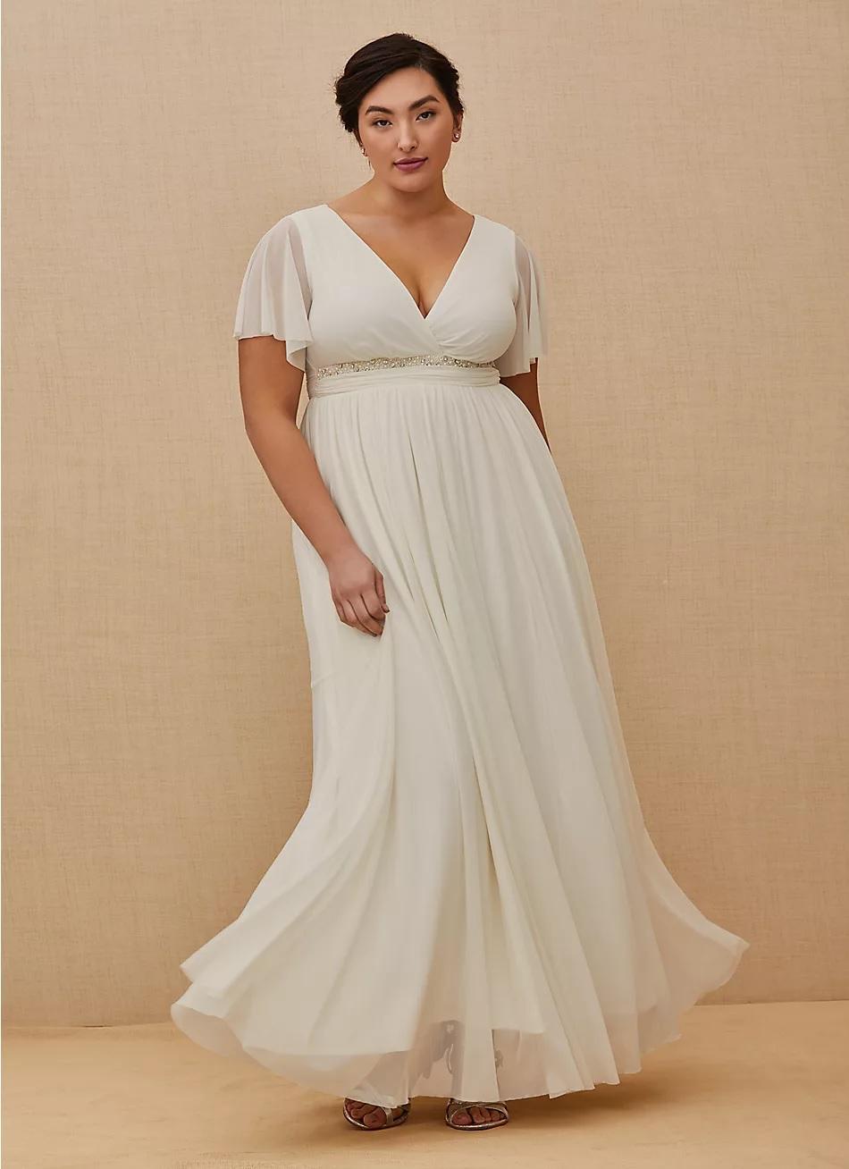 torrid wedding dress in white with empire waist