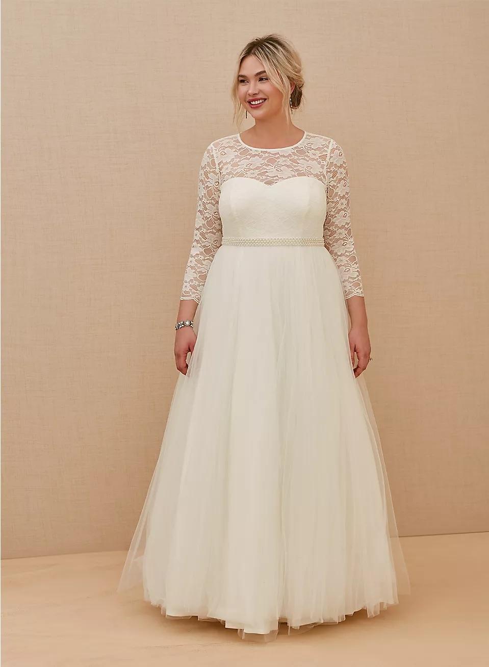 torrid long sleeve wedding dress in plus size