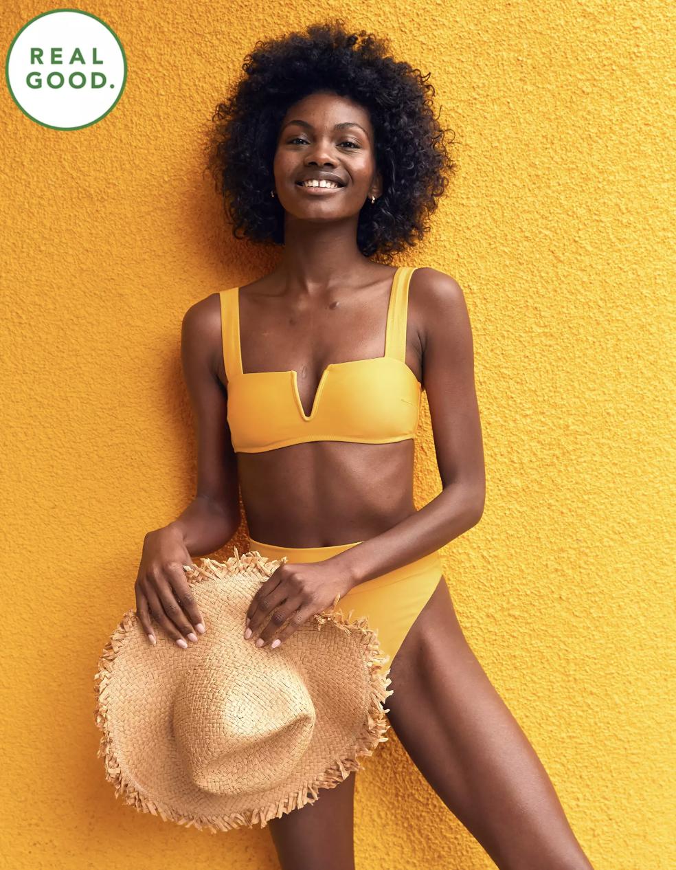 aerie real good swim bandeau bikini top yellow
