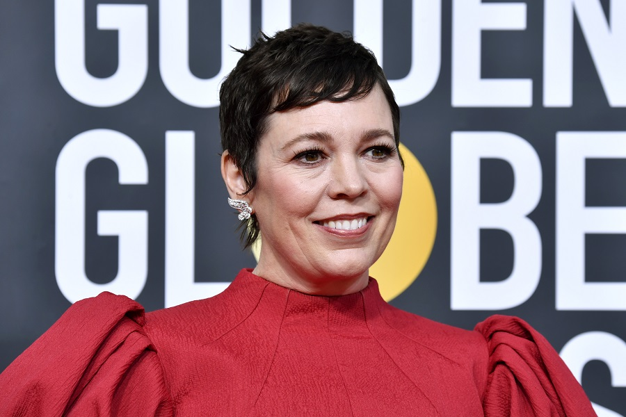 olivia colman 2020 oscars red carpet blonde hair