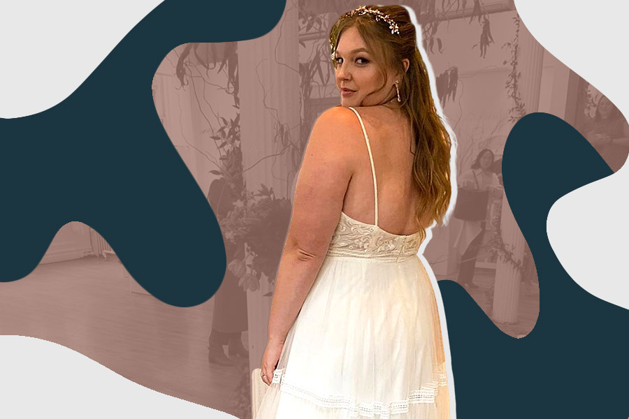 Olivia Muenter trying on wedding dresses