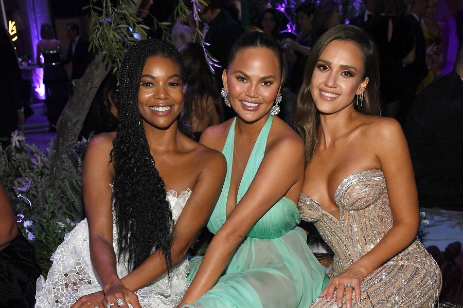 2020 oscars after-party fashion, chrissy teigen, gabrielle union, and jessica alba