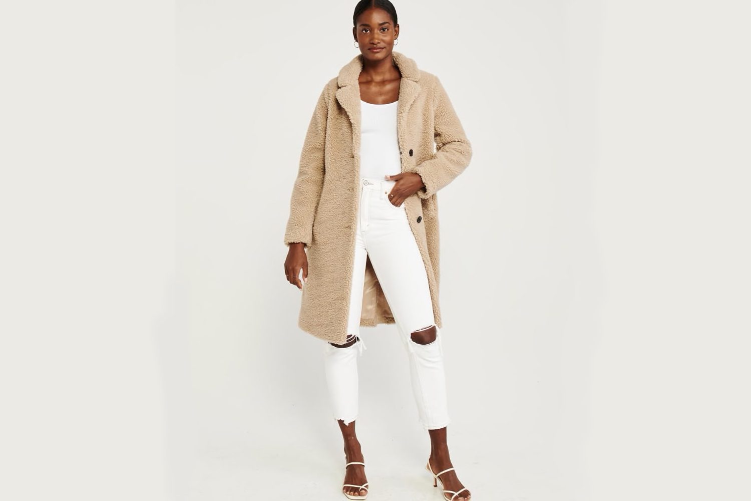 Abercrombie and fitch sherpa camel coat