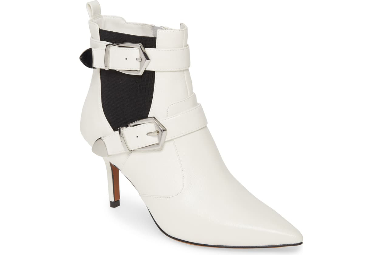 white booties silver buckle