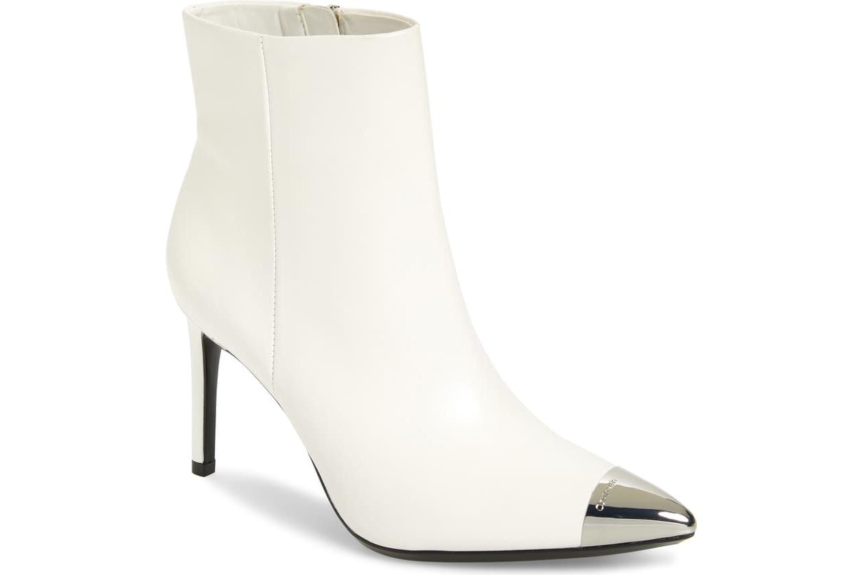 white booties Calvin Klein pointed metal toe