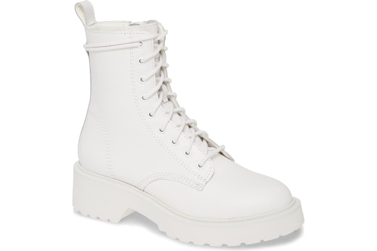 white booties Steve Madden combat boot