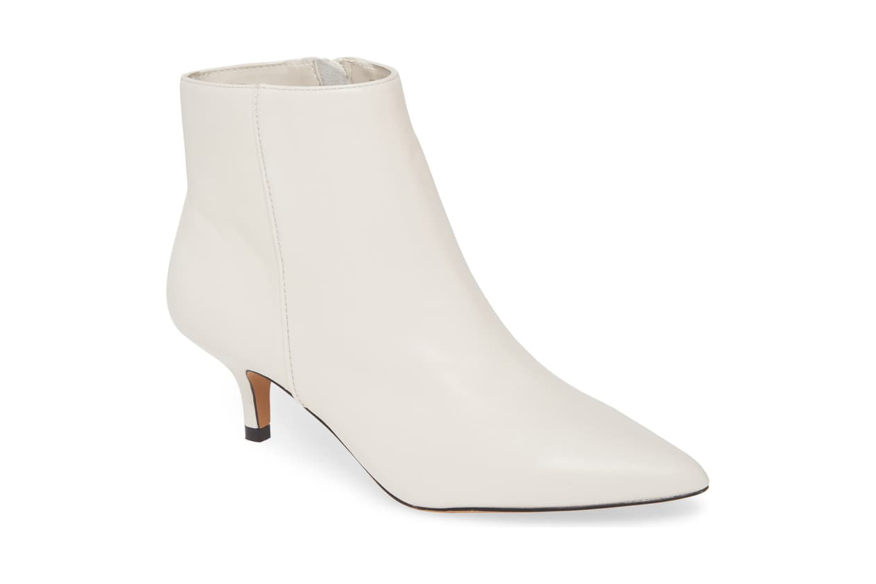 kensie white booties kitten heel