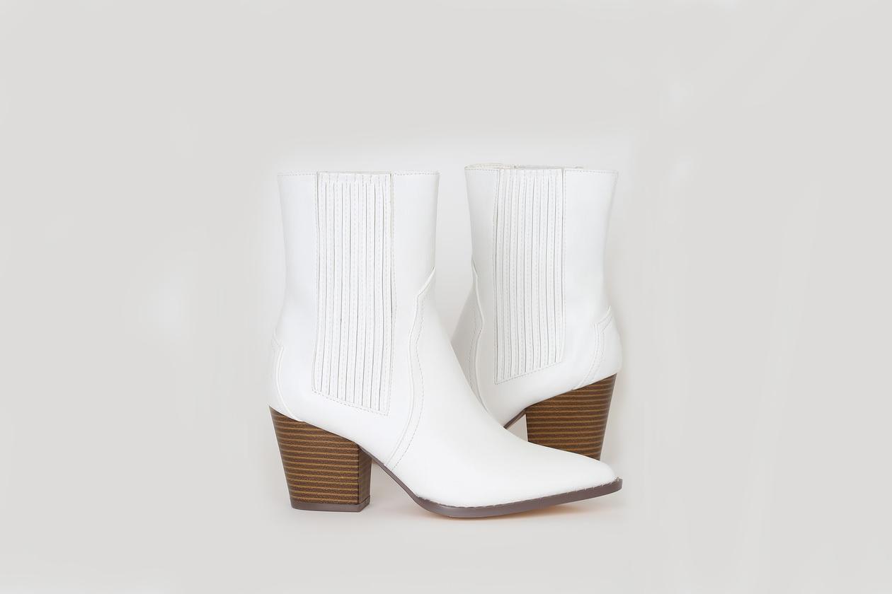 white booties western wooden block heel lulus