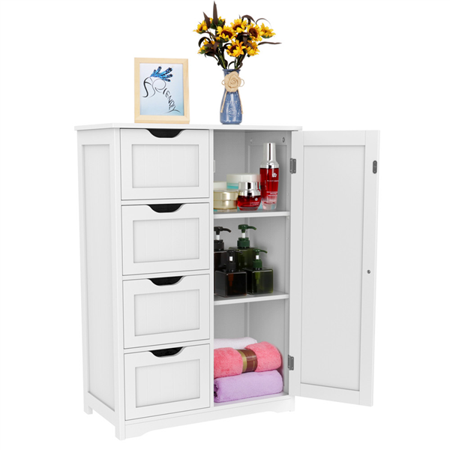 Topeakmart Wooden Floor Cabinet Bathroom Storge Cabinet with 4 Drawers White