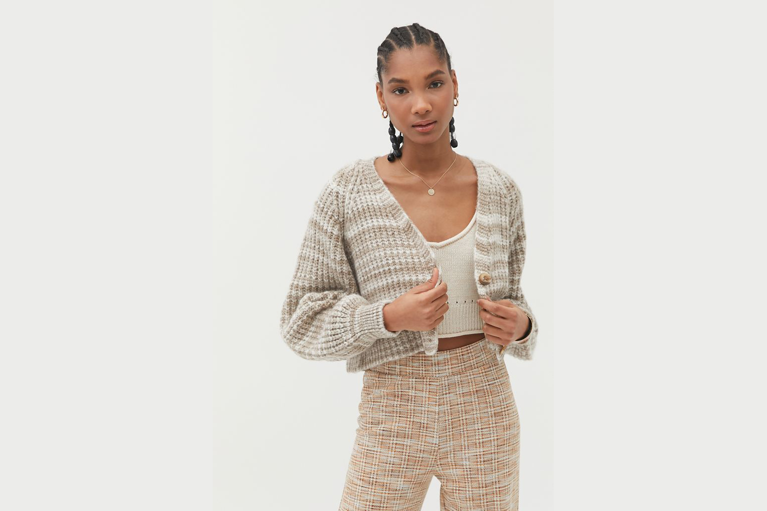spring sweater set urban outfitters cropped cardigan