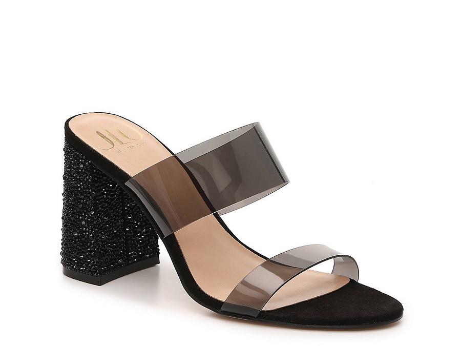 jennifer lopez DSW shoe collection, block heel sandals in black