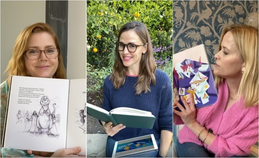 amy adams, jennifer garner, and reese witherspoon reading picture books for save with stories