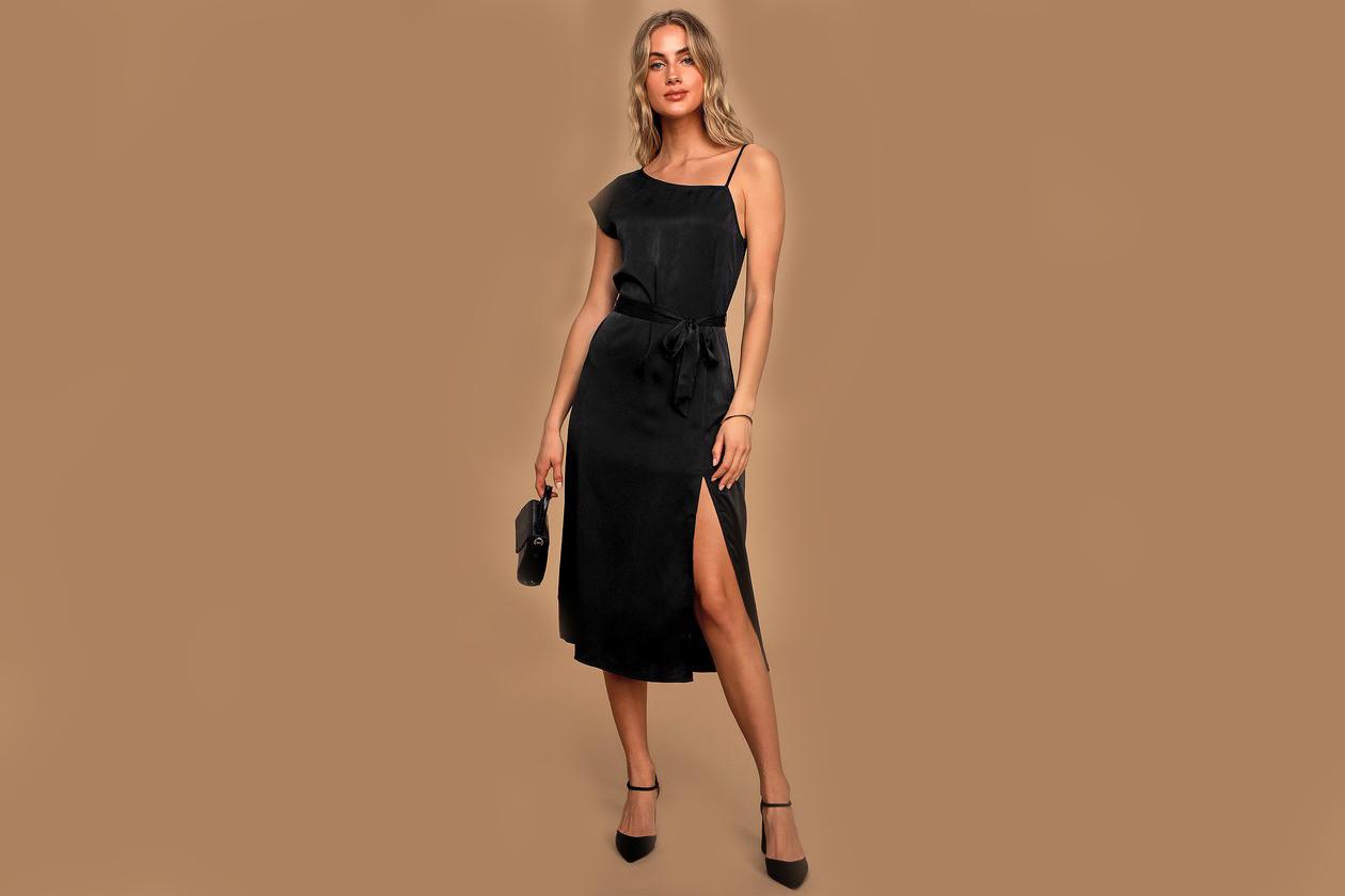satin slip dresses midi black one shoulder lulus