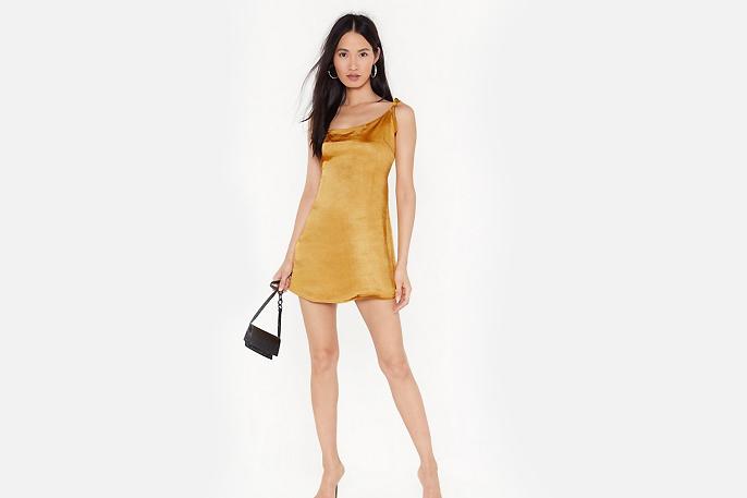 nasty gal satin slip dress mini