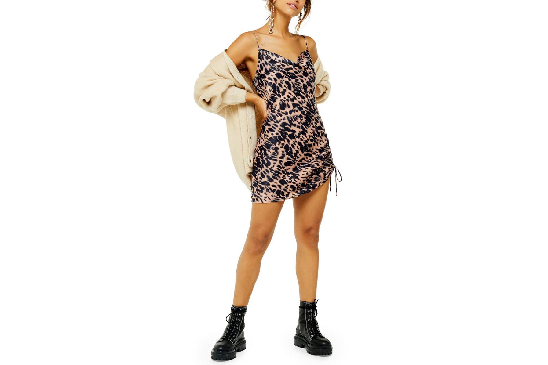 Topshop satin slip dress ruched mini