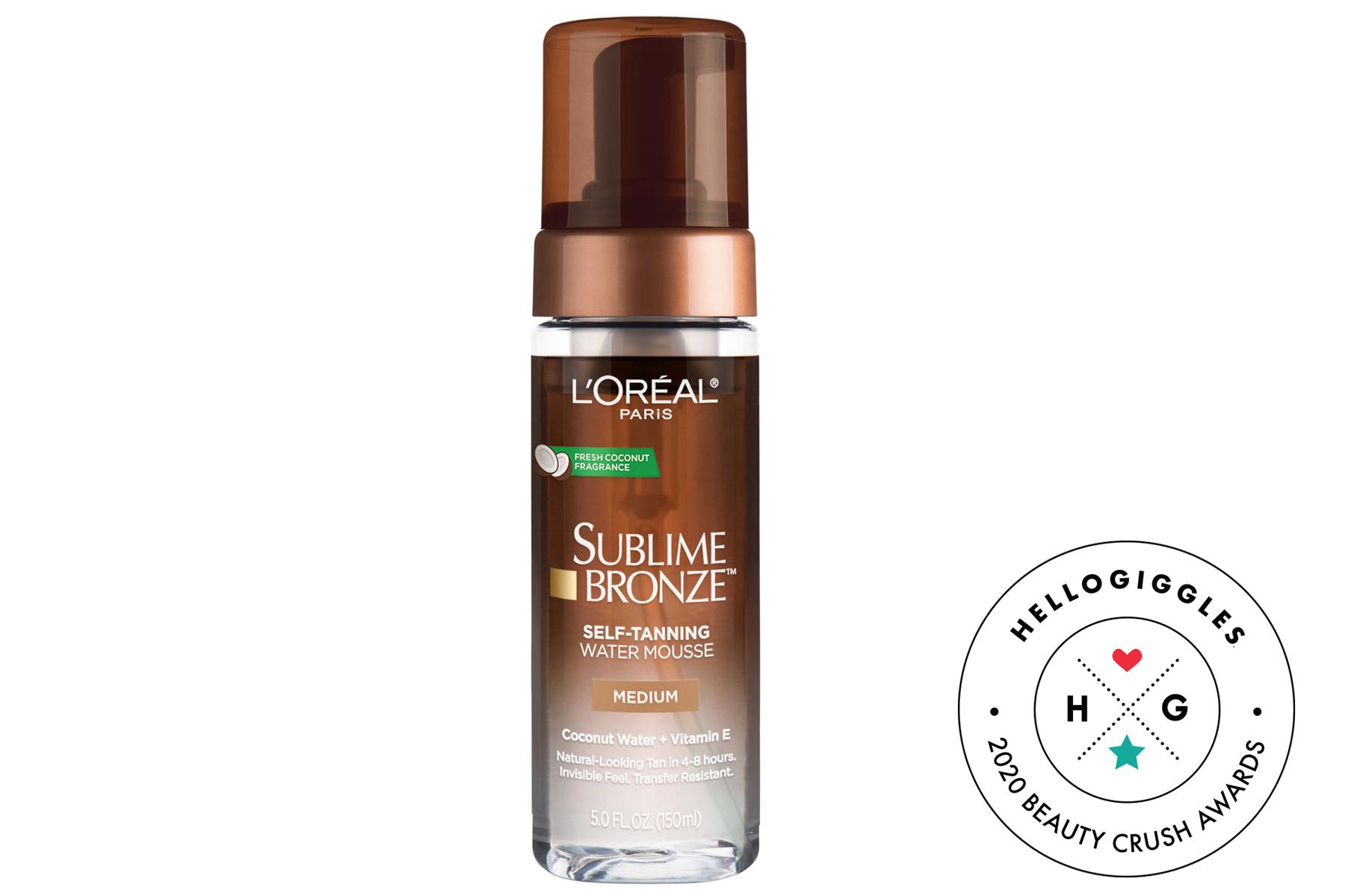 best drugstore self tanner, loreal paris sublime bronze water mousse