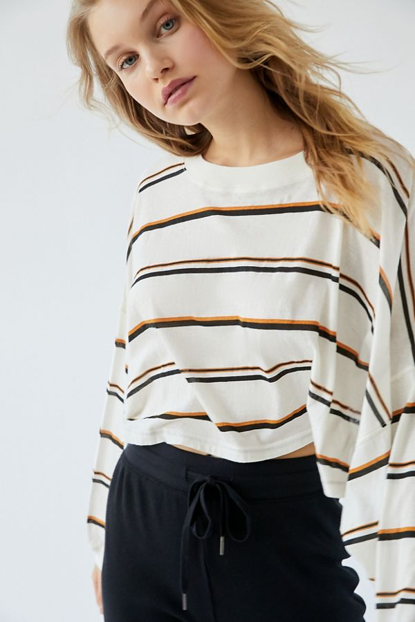 urban outfitters cropped striped shirt on sale