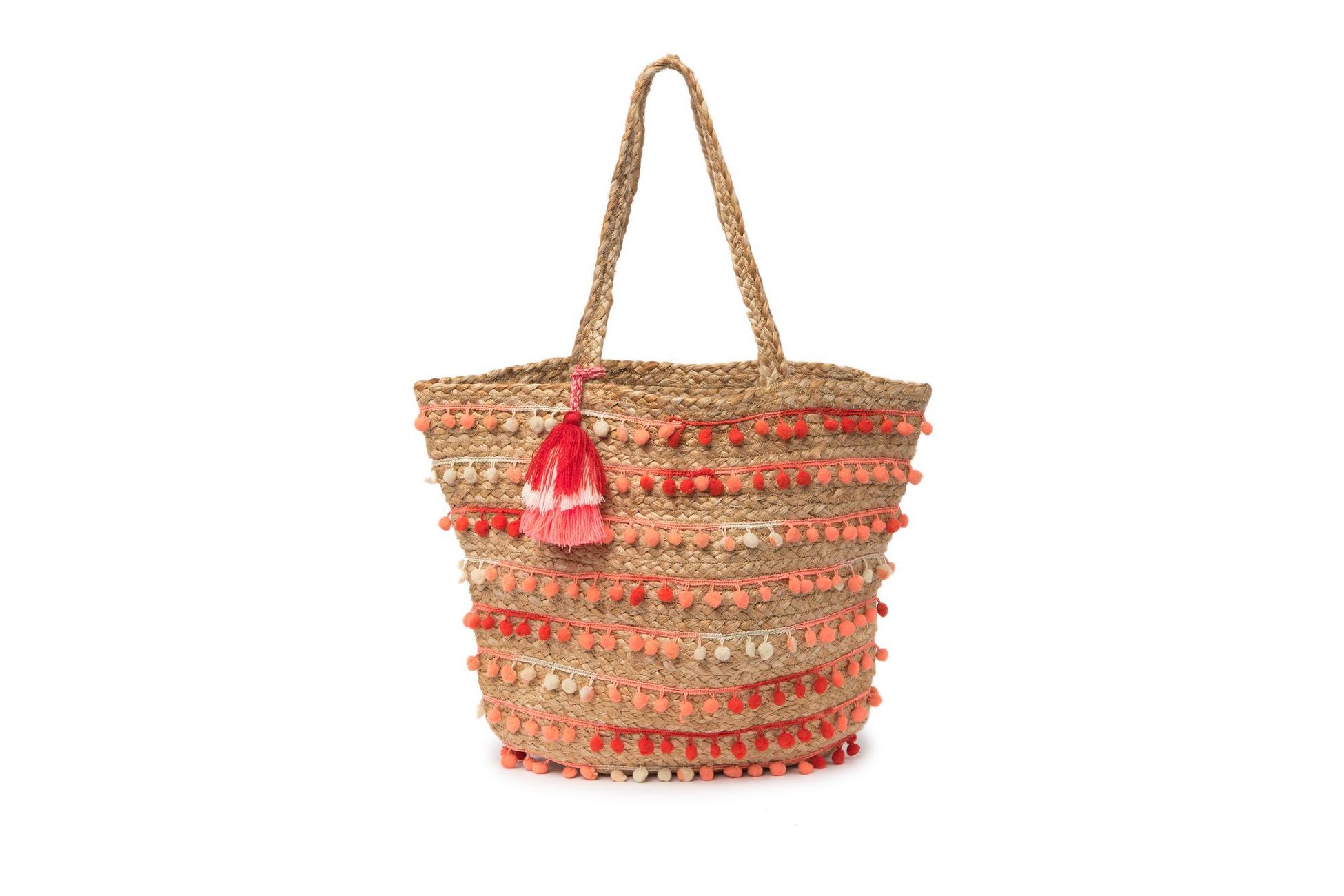 coral straw pom pom bag straw bag