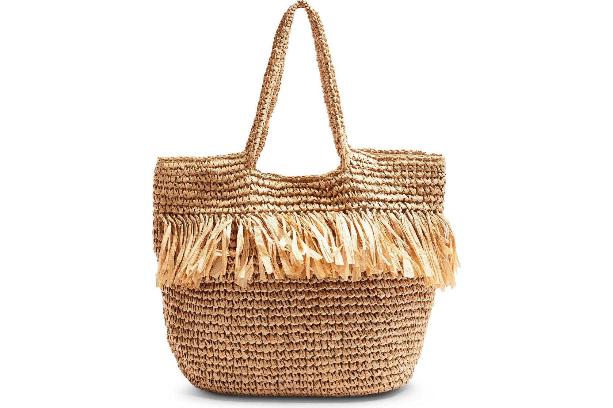topshop fringe straw tote bag