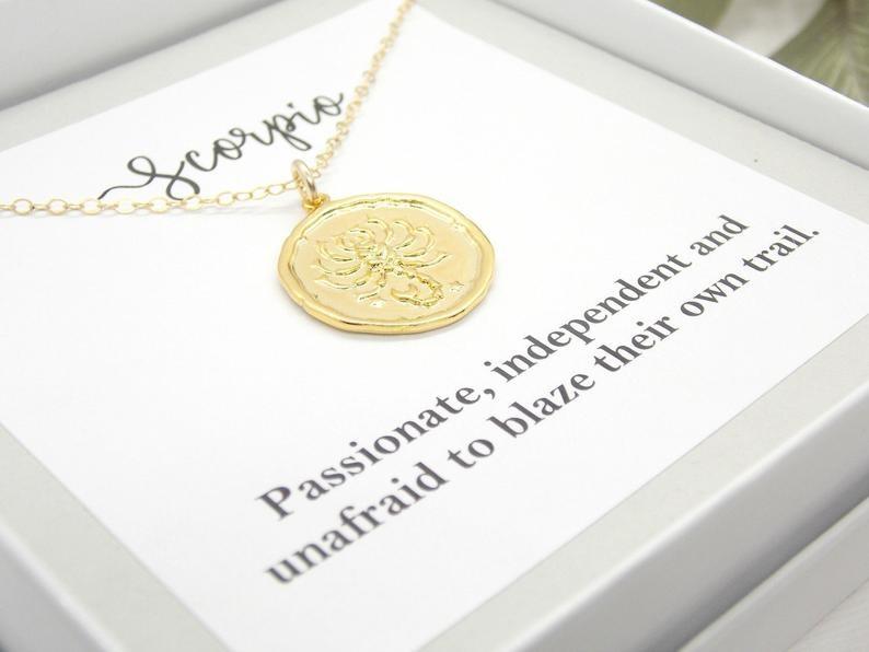 zodiac sign coin necklace in scorpio