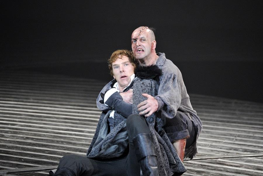 benedict cumberbatch and jonny lee miller in frankenstien at london's national theatre