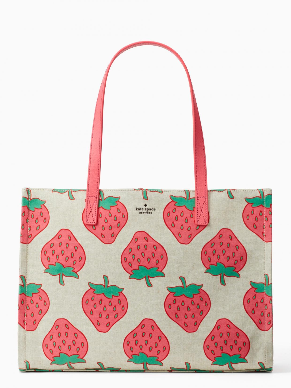 kate spade tote canvas with strawberry print
