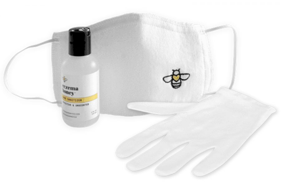 coronavirus kit hand sanitizer gloves face mask
