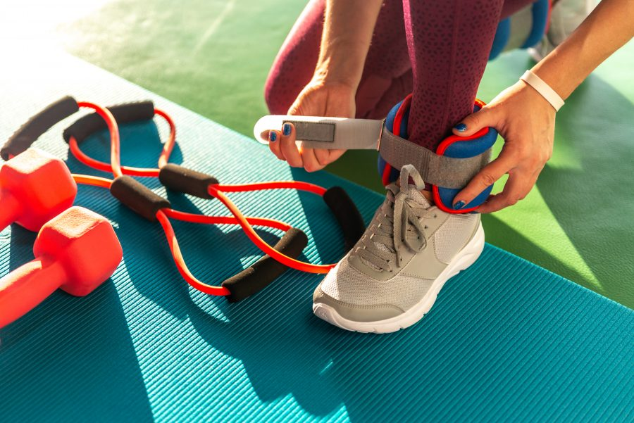 at-home workouts ankle weights