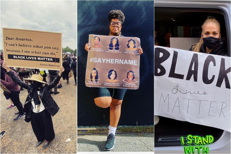 black lives matter protest, zoe kravitz, amber riley, and jennifer lopez